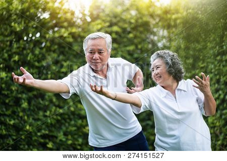 Asian Couple Practicing Tai Chi In The Park Together. Healthy, Workout And Relaxation Concepts. Smil