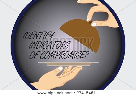 Text sign showing Identify Indicators Of Compromise. Conceptual photo Detect malware online attacks hacking Hu analysis Hands Serving Tray Platter and Lifting the Lid inside Color Circle. poster