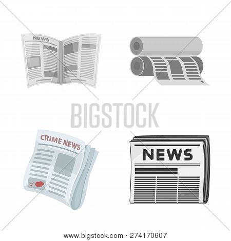 Isolated Object Of Daily And Folded Symbol. Set Of Daily And Paper Vector Icon For Stock.