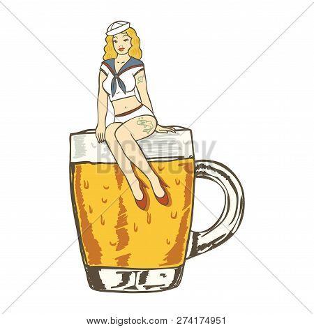 Illustration Of A Sailor Girl Sitting On A Mug Of Cold Beer  On White Background, Vector