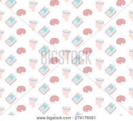 Concussion Dizziness Human Brain Icon Healthcare Medical Service Logo Medicine Symbol Concept Seamle