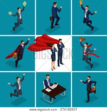 Isometric Cartoon People, 3d Businessmen, Concepts With A Businessman And Business Lady, Joy Money S