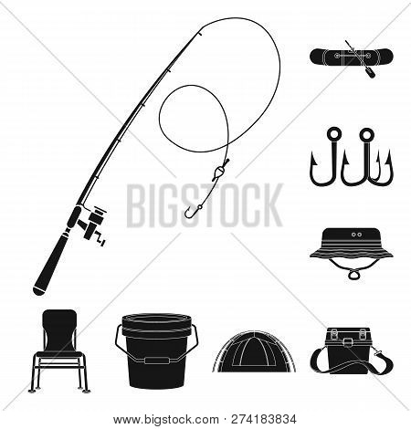 Vector Design Of Fish And Fishing Logo. Collection Of Fish And Equipment Stock Symbol For Web.