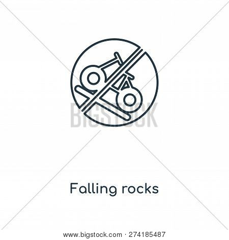 Falling Rocks Icon In Trendy Design Style. Falling Rocks Icon Isolated On White Background. Falling