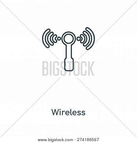 Wireless Icon In Trendy Design Style. Wireless Icon Isolated On White Background. Wireless Vector Ic