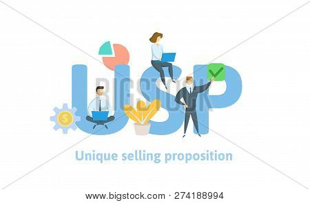 Usp, Unique Selling Proposition. Concept With Keywords, Letters, And Icons. Flat Vector Illustration