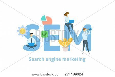 Sem, Search Engine Marketing. Concept With Keywords, Letters, And Icons. Flat Vector Illustration. I