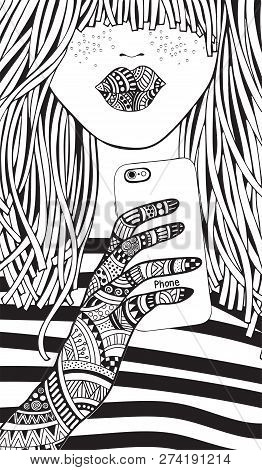 Cool Yong Girl Taking Picture On Smartphone. Adult Coloring Book Page. Young Woman. Black And White