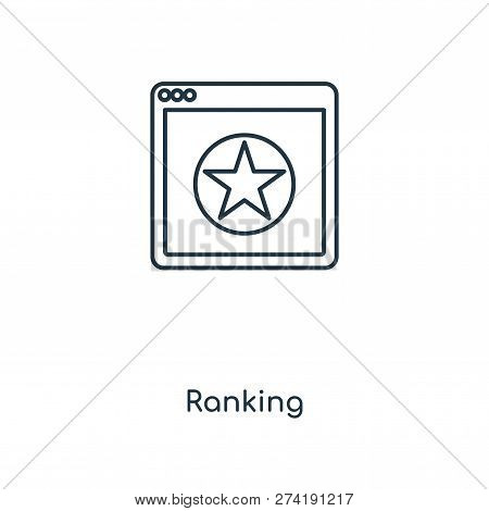 Ranking Icon In Trendy Design Style. Ranking Icon Isolated On White Background. Ranking Vector Icon