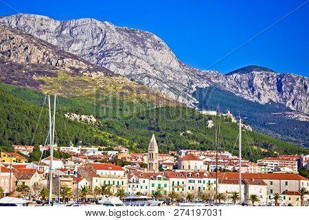 Makarska Waterfront And Biokovo Mountain View, Dalmatia Region Of Croatia