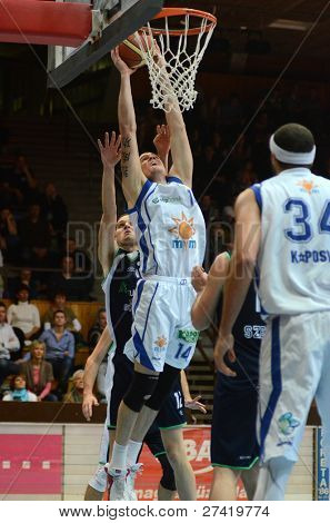 KAPOSVAR, HUNGARY - DECEMBER 10: Jozsef Lekli (14) in action at a Hugarian Cup basketball game Kaposvar vs. Szeged on December 10, 2011 in Kaposvar, Hungary.