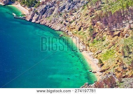 Emerald Hidden Beach Under Biokovo Mountain Cliffs Aerial View, Makarska Riviera Of Dalmatia, Croati