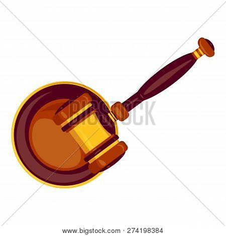 Top View Wood Gavel Icon. Cartoon Of Top View Wood Gavel Vector Icon For Web Design Isolated On Whit