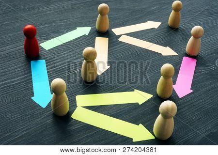 Delegating And Teamwork. Figures On A Desk.