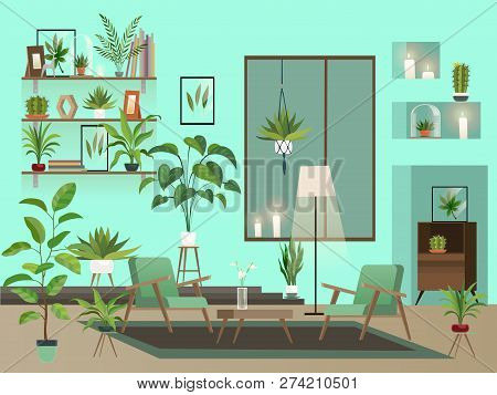 Living Room At Night. Urban Room Interior With Indoor Flowers, Chairs, Vase And Candles