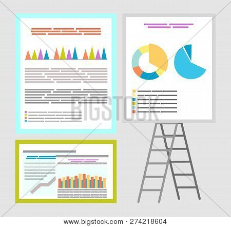Infographics And Infocharts, Whiteboard Charts Vector. Board With Information And Explanation, Data