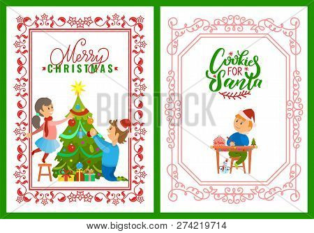 Merry Christmas Writing Clipart.Children Decorating Vector Photo Free Trial Bigstock
