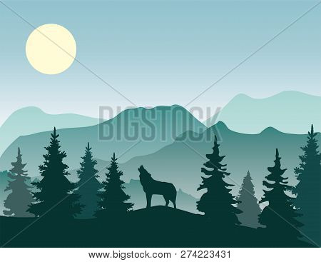 Vector Illustration Of Nature Landscape With Wolf Silhouette.