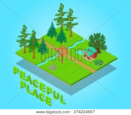Peaceful Place Concept Banner. Isometric Banner Of Peaceful Place Vector Concept For Web, Giftcard A