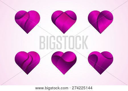 Heart On Valentines Day In Love Vector. Heart Shape Lovely Pink Sign On Hearted Celebration And Gree