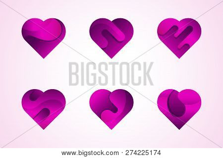 Heart on valentines day in love vector. Heart shape lovely pink sign on hearted celebration and greeting card. relations symbol. heart and love logo. love and heart icon set illustration.