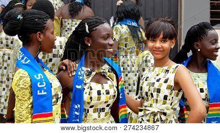 Accra. Ghana - July 20, 2013: Smiling Happy African School Girls In Their High School Graduation Day