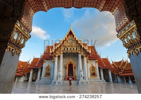 Wat Benchamabophit Dusitvanaram Marble Temple Bangkok During Decoration With Yipeng Lanterns Festiv