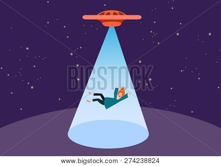 Ufo And Teleport Beam. Ufo Kidnaps A Person, Vector. The Woman Was Stolen By Aliens. Free Space For
