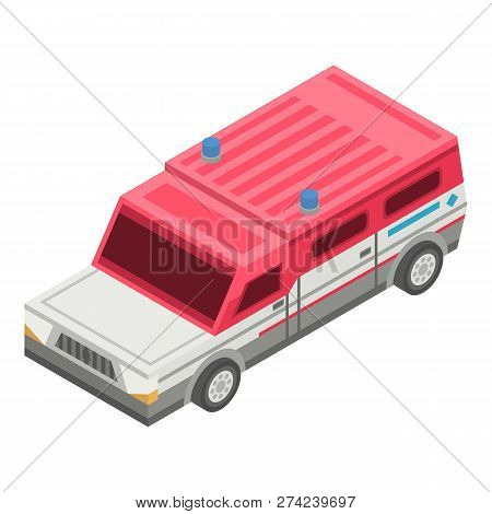 Rescue Truck Car Icon. Isometric Of Rescue Truck Car Vector Icon For Web Design Isolated On White Ba