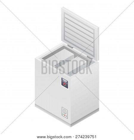 Home Deep Freezer Icon. Isometric Of Home Deep Freezer Vector Icon For Web Design Isolated On White