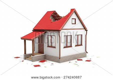 3d Rendering Of A Private White House With Damaged Red Roof Isolated On White Background