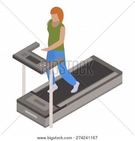 Woman Treadmill Icon. Isometric Of Woman Treadmill Vector Icon For Web Design Isolated On White Back