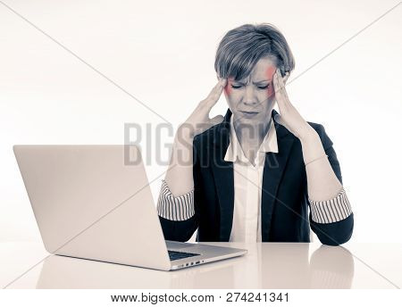 Attractive Young Business Woman With Headache Working On Computer Stressed Tired And Overwhelmed.