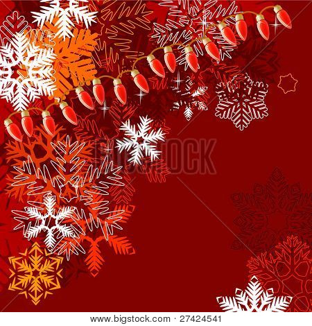 Dark red winter background with different snowflakes