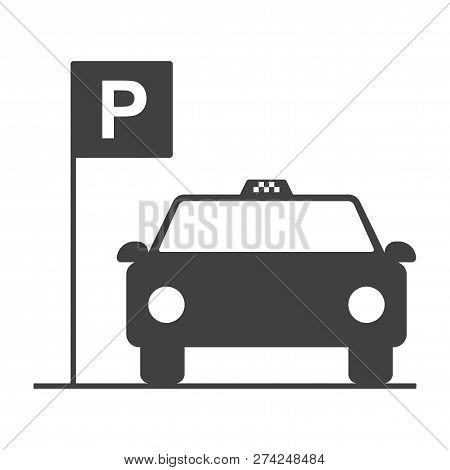 Icon Of A Parking Zone For A Taxi. Vector On A White Background.
