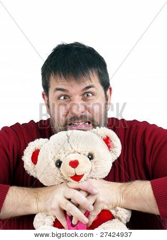 Man Strangling Teddy Bear