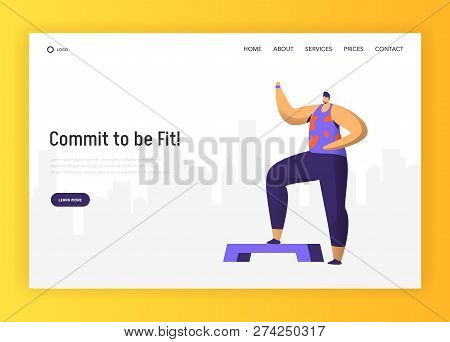 Aerobic Fitness Character Design For Landing Page. Crossfit Man Exercise In Gym. Healthy Urban Worko