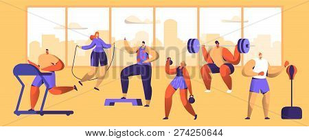 Gym Workout Character Set. Sport Cardio Fitness Man And Woman Figure Collection. Healthy Aerobic Wei