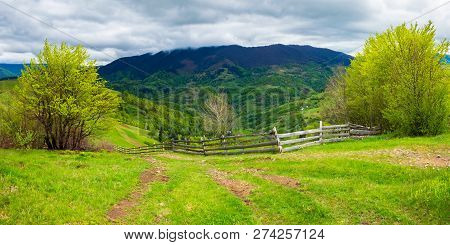Path Through Agricultural Area In Mountains. Wooden Fence Along The Road Down The Hill. Trees On Hil