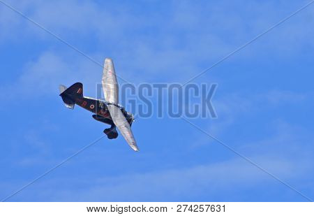 Ickwell, Bedfordshire, England - August 05, 2018: Westland Lysander 1938  Aircraft  In Flight.