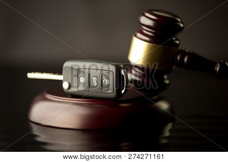 Car Auction Concept - Gavel And Car Key On The Wooden Desk. Wooden Gave
