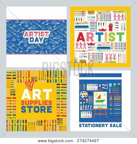 Art Supplies Vector Studying In Art-school With Artist Tools Watercolor Paint Brushes Palette For Co