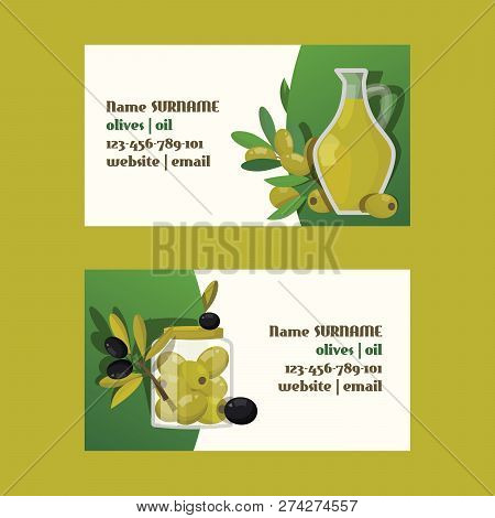 Olive Vector Oliveoil Bottle With Virgin Oil Business Card Natural Olivaceous Ingredients For Vegeta