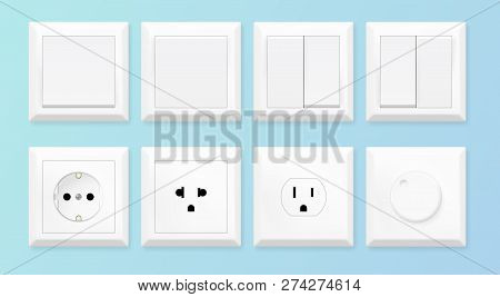 Realistic White Switches And Socket Set. European And American Power Socket Standards. Vector Illust