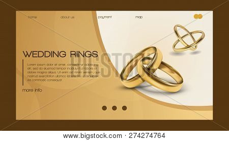 Wedding Rings Vector Wed Shop Business Landing Page Of Engagement Symbol Gold Jewellery For Proposal