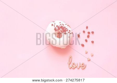 White Glazed Donut  With Black Chocolate Sweets On Colar Background. Flat Lay. Food Concept, Colorfu