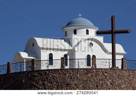 Monastery Chapel With Cross On Top Of Hill