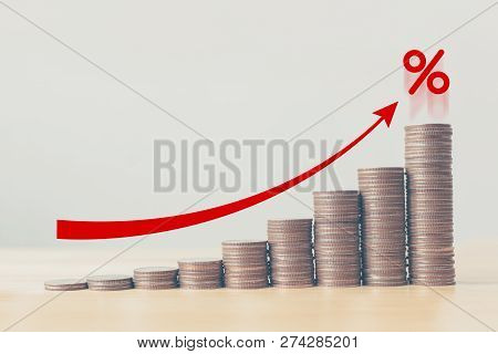Coin Stack Step Up Graph With Red Arrow And Percent Icon, Risk Management Business Financial And Man