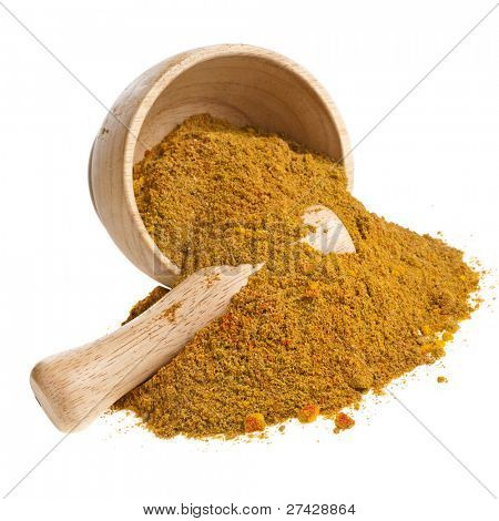 mortar with curry powder spice isolated on white poster