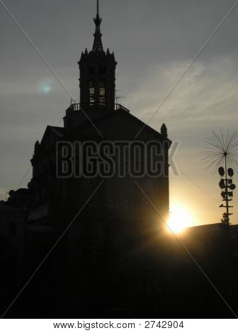 The evening in the capital. Sunset in Kiew. poster